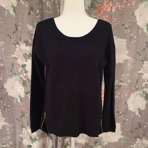INC Black Side Zip High Low Knit Sweater